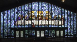 Stained glass window of Last Supper in Nativity Church