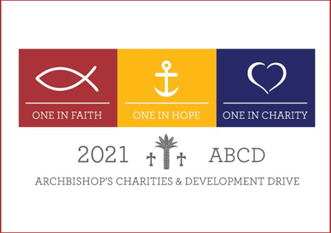 """2021 Archbishop Charities Logo """"One in Faith, One in Hope, One in Charity"""""""