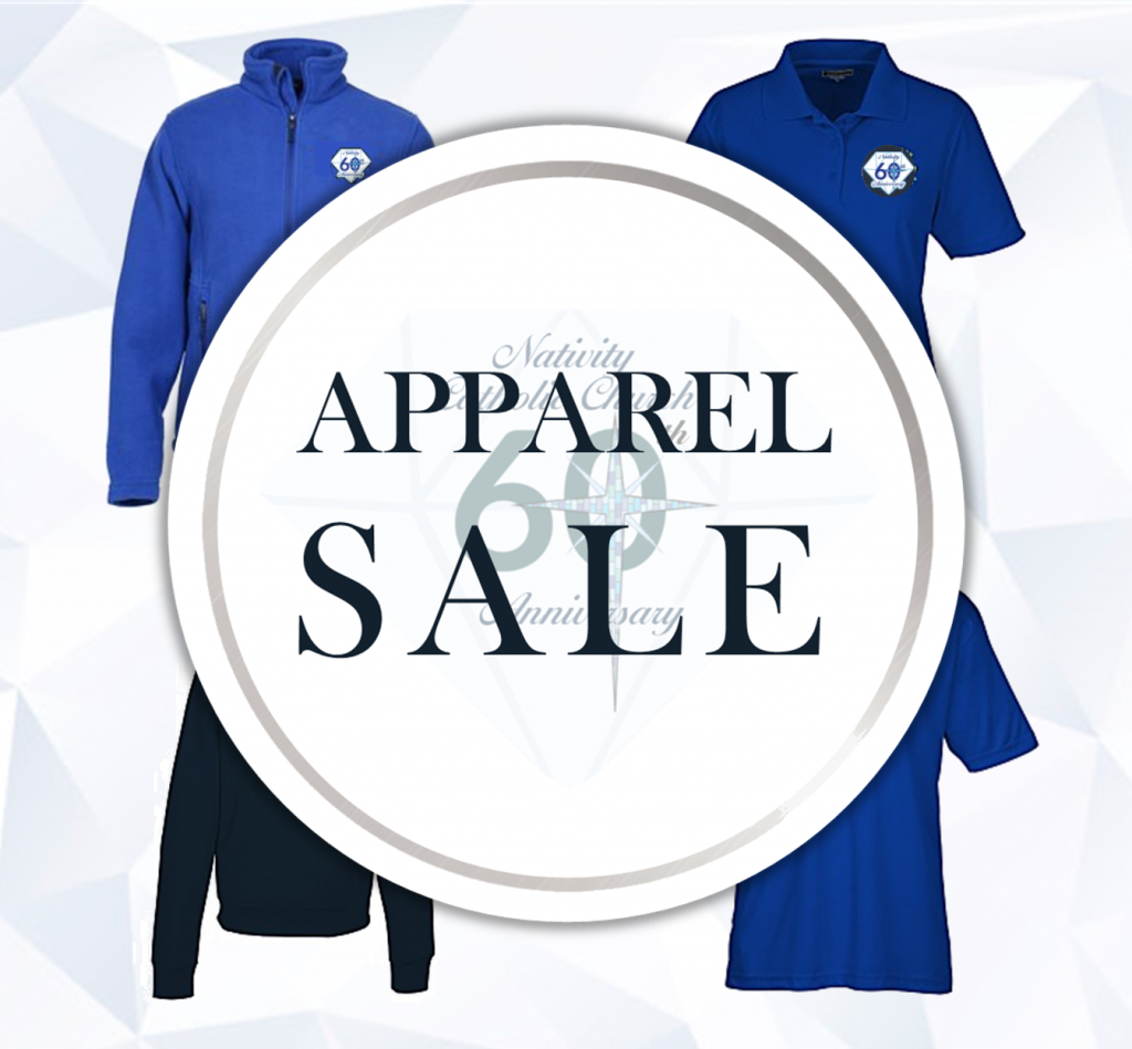 """Apparel Sale"" in circle, blue shirts"