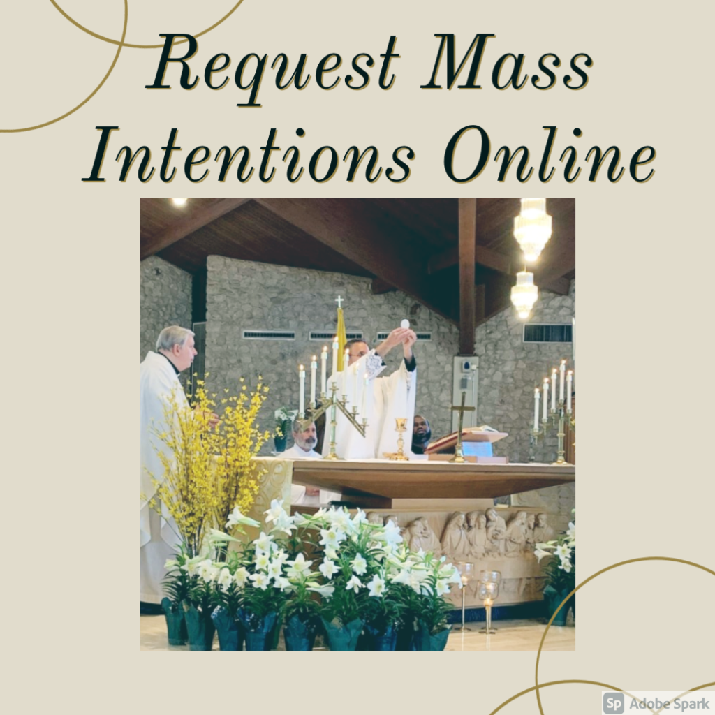 Schedule Mass Intentions Online with picture of consecration at Nativity Church